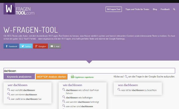 Contentrecherche W-Fragen-Tool.com