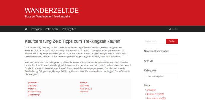 Meien neue Nischenseite WANDERZELT.DE